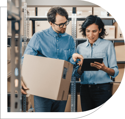 warehouse manager checking distribution analytics on mobile