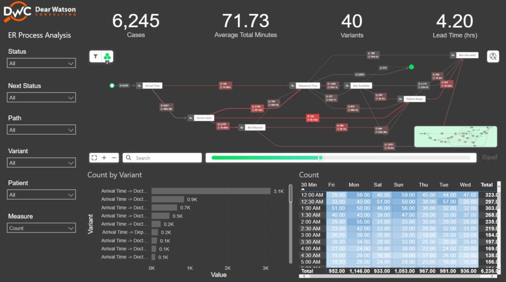 power bi dashboard preview of ER efficiency report